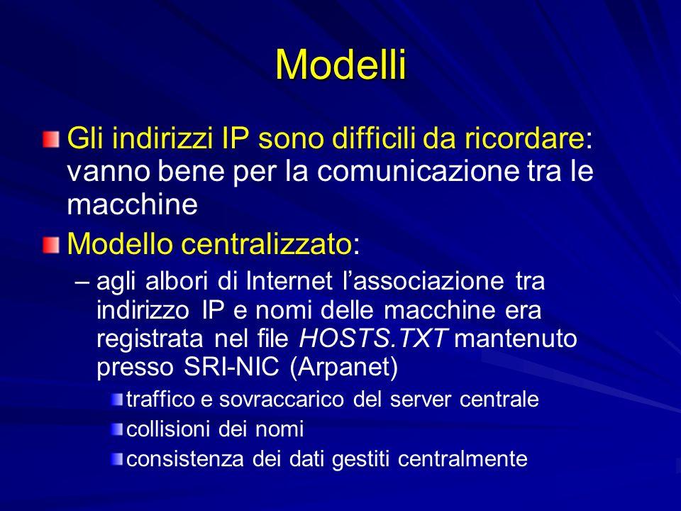 Modelli Modello distribuito: – –allinizio degli anni 80, laumento del numero degli host ha reso indispensabile ladozione di un modello di gestione distribuita denominato Domain Name System