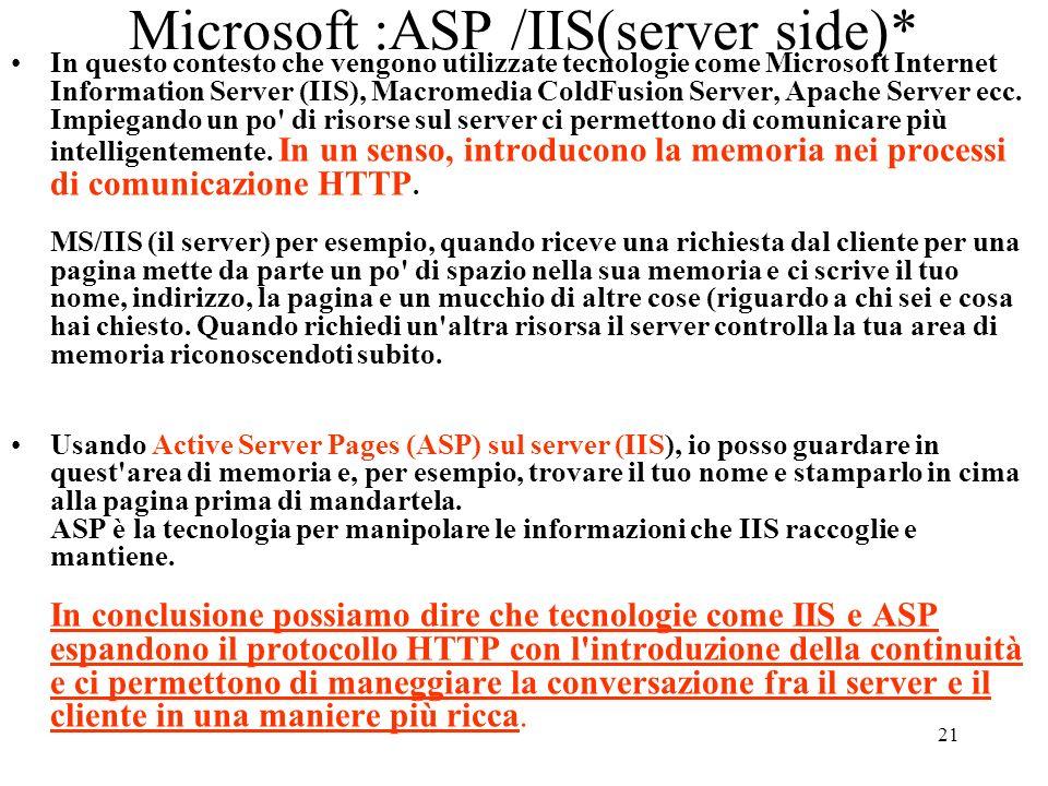 21 Microsoft :ASP /IIS(server side)* In questo contesto che vengono utilizzate tecnologie come Microsoft Internet Information Server (IIS), Macromedia