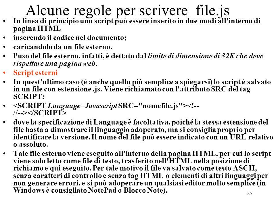 25 Alcune regole per scrivere file.js In linea di principio uno script può essere inserito in due modi all'interno di pagina HTML inserendo il codice