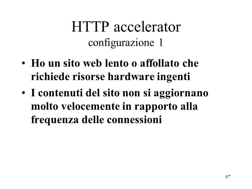 67 HTTP accelerator configurazione 1 Ho un sito web lento o affollato che richiede risorse hardware ingenti I contenuti del sito non si aggiornano mol