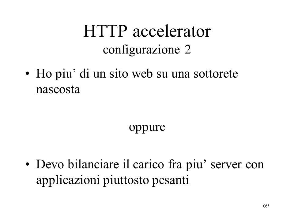 69 HTTP accelerator configurazione 2 Ho piu di un sito web su una sottorete nascosta oppure Devo bilanciare il carico fra piu server con applicazioni