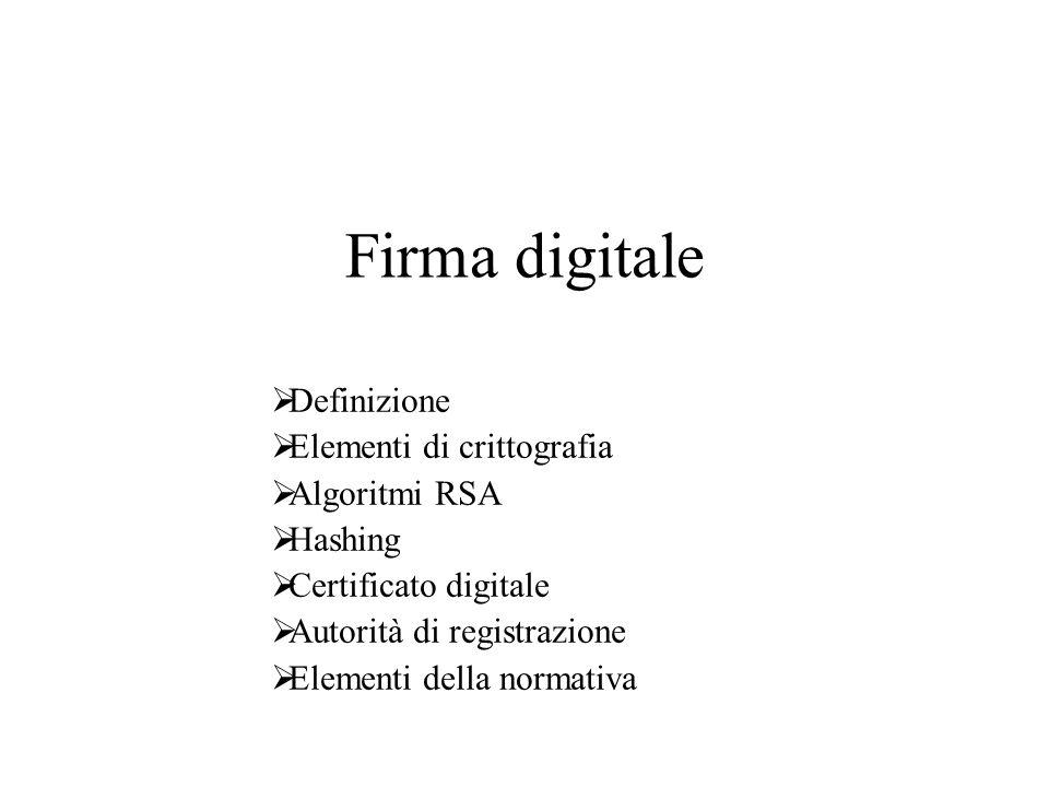 Firma digitale Definizione Elementi di crittografia Algoritmi RSA Hashing Certificato digitale Autorità di registrazione Elementi della normativa