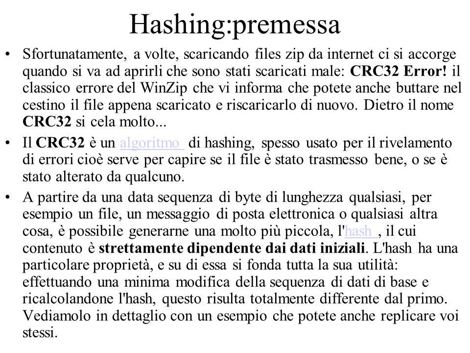 Hashing:premessa Sfortunatamente, a volte, scaricando files zip da internet ci si accorge quando si va ad aprirli che sono stati scaricati male: CRC32