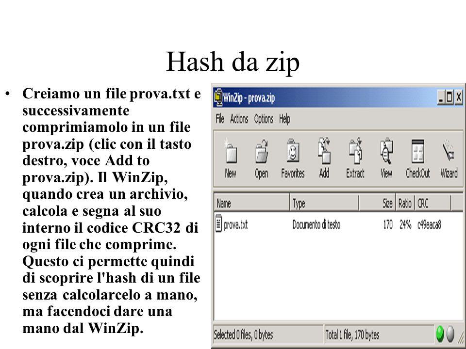 Hash da zip Creiamo un file prova.txt e successivamente comprimiamolo in un file prova.zip (clic con il tasto destro, voce Add to prova.zip). Il WinZi