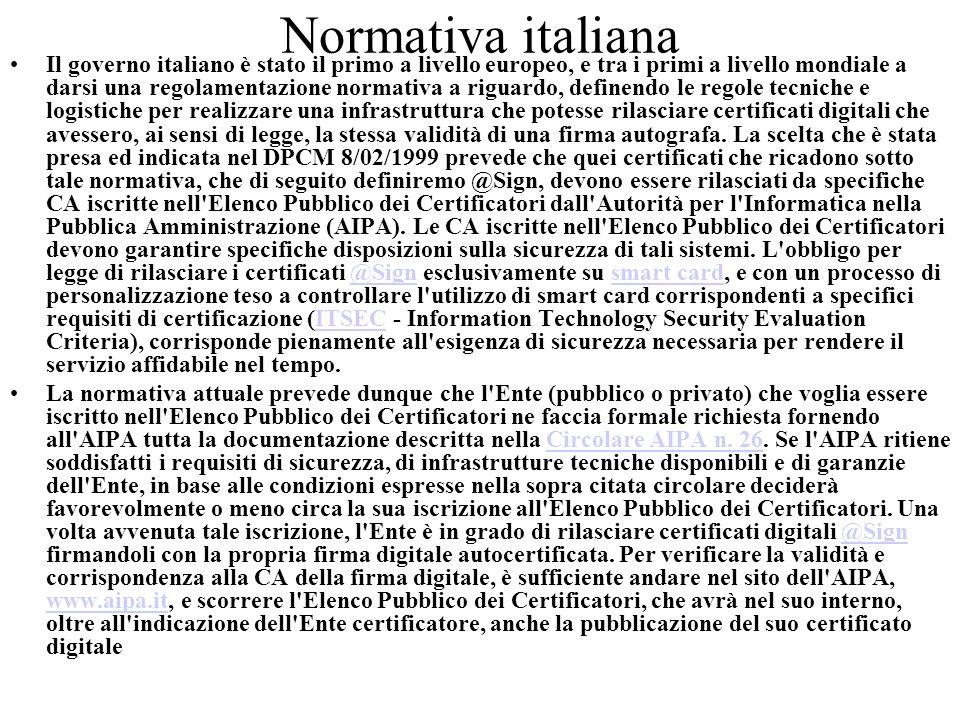Normativa italiana Il governo italiano è stato il primo a livello europeo, e tra i primi a livello mondiale a darsi una regolamentazione normativa a r