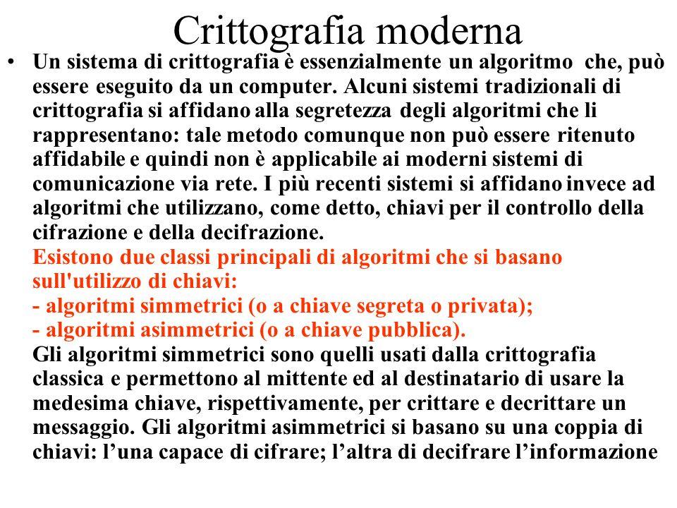Crittografia moderna Un sistema di crittografia è essenzialmente un algoritmo che, può essere eseguito da un computer. Alcuni sistemi tradizionali di