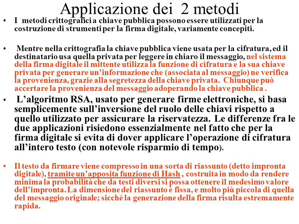 Applicazione dei 2 metodi I metodi crittografici a chiave pubblica possono essere utilizzati per la costruzione di strumenti per la firma digitale, va