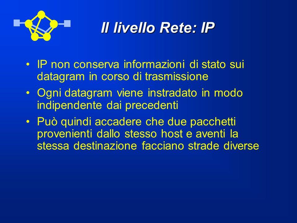 Il livello Rete: IP IP non conserva informazioni di stato sui datagram in corso di trasmissione Ogni datagram viene instradato in modo indipendente da
