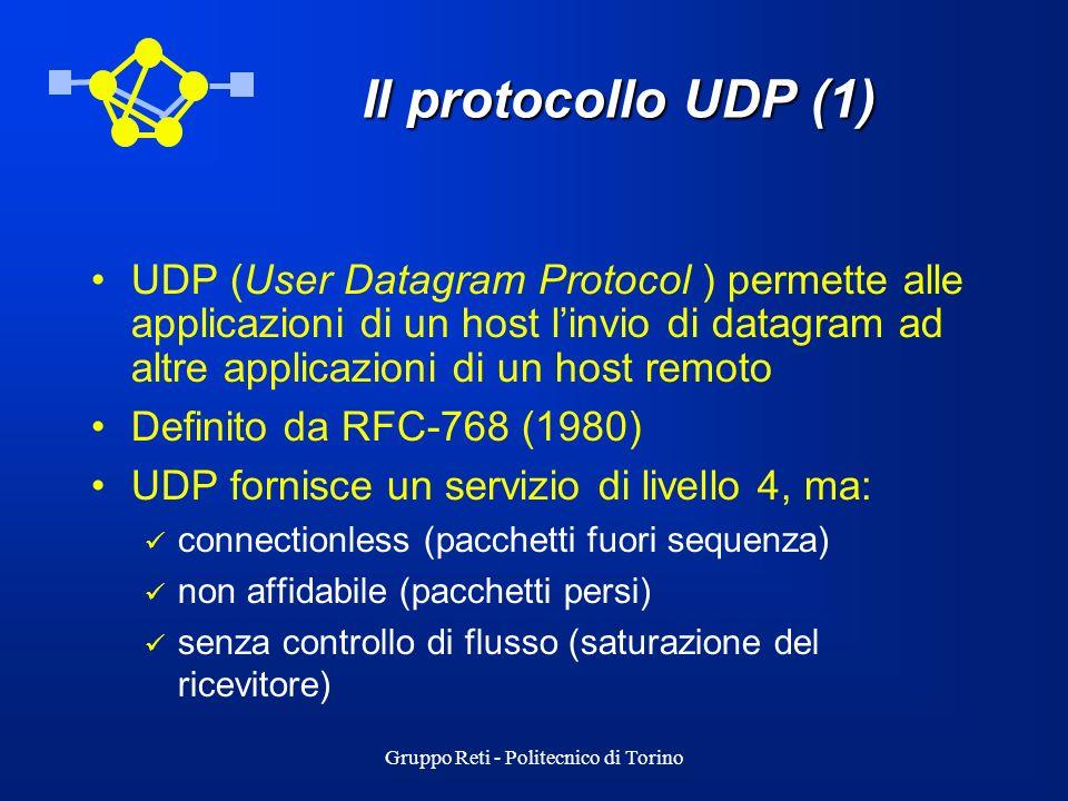 Gruppo Reti - Politecnico di Torino Il protocollo UDP (1) UDP (User Datagram Protocol ) permette alle applicazioni di un host linvio di datagram ad al
