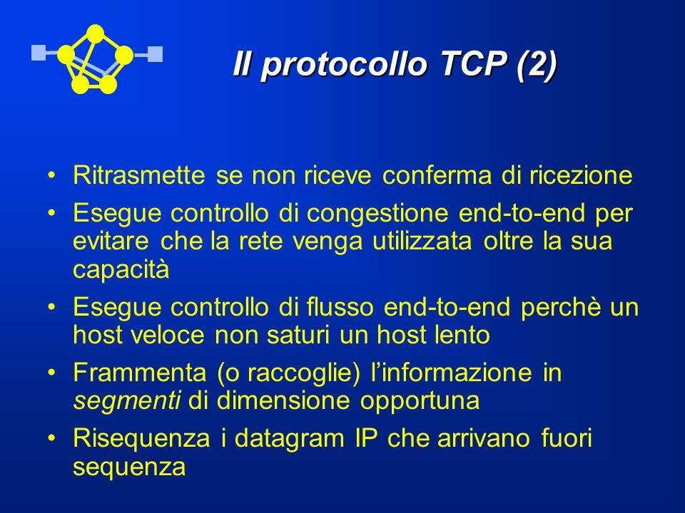 Il protocollo TCP (2) Ritrasmette se non riceve conferma di ricezione Esegue controllo di congestione end-to-end per evitare che la rete venga utilizz