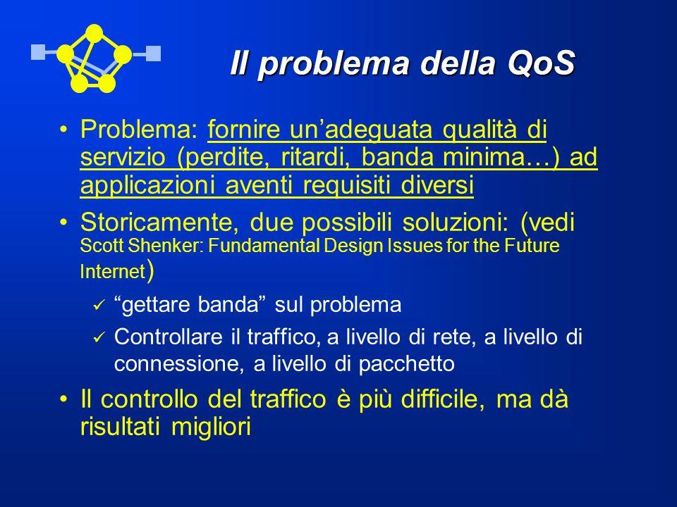 Il problema della QoS Problema: fornire unadeguata qualità di servizio (perdite, ritardi, banda minima…) ad applicazioni aventi requisiti diversi Stor
