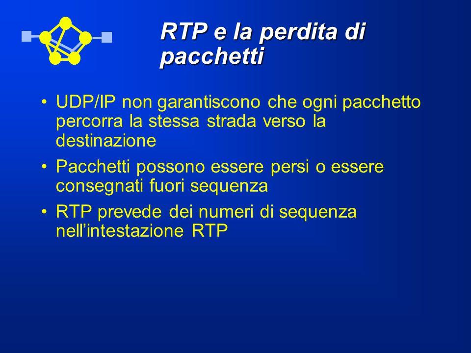 RTP e la perdita di pacchetti UDP/IP non garantiscono che ogni pacchetto percorra la stessa strada verso la destinazione Pacchetti possono essere pers