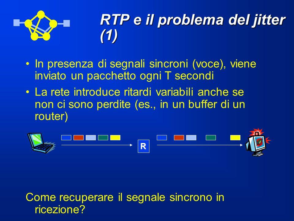 RTP e il problema del jitter (1) In presenza di segnali sincroni (voce), viene inviato un pacchetto ogni T secondi La rete introduce ritardi variabili