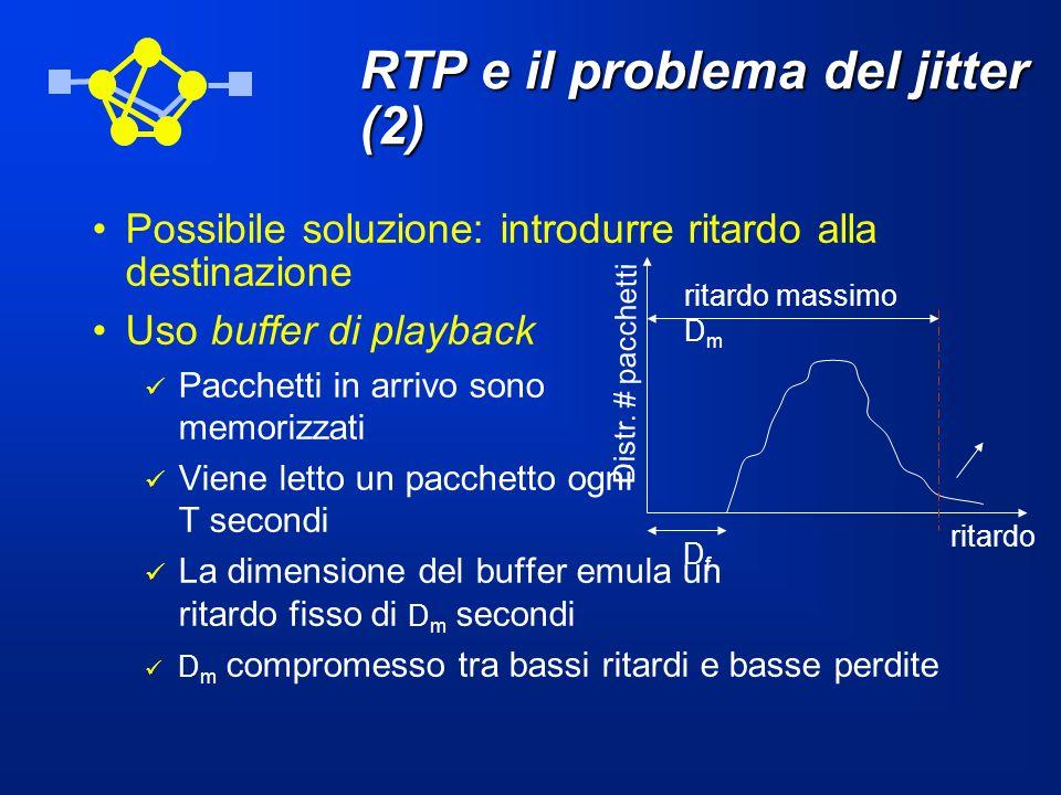 RTP e il problema del jitter (2) Possibile soluzione: introdurre ritardo alla destinazione Uso buffer di playback Pacchetti in arrivo sono memorizzati