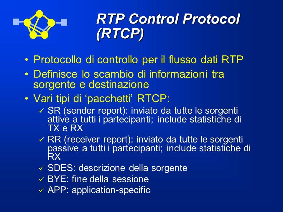 RTP Control Protocol (RTCP) Protocollo di controllo per il flusso dati RTP Definisce lo scambio di informazioni tra sorgente e destinazione Vari tipi