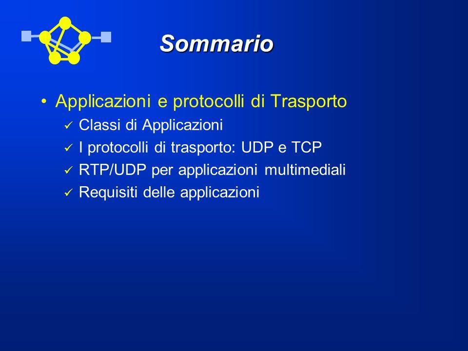 Sommario Applicazioni e protocolli di Trasporto Classi di Applicazioni I protocolli di trasporto: UDP e TCP RTP/UDP per applicazioni multimediali Requ