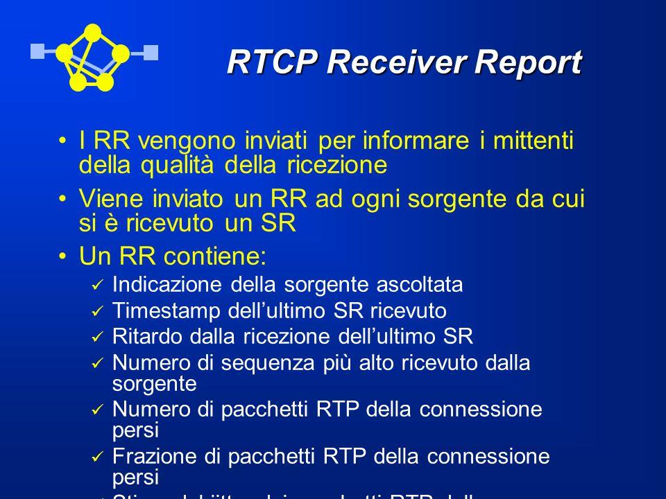 RTCP Receiver Report I RR vengono inviati per informare i mittenti della qualità della ricezione Viene inviato un RR ad ogni sorgente da cui si è rice
