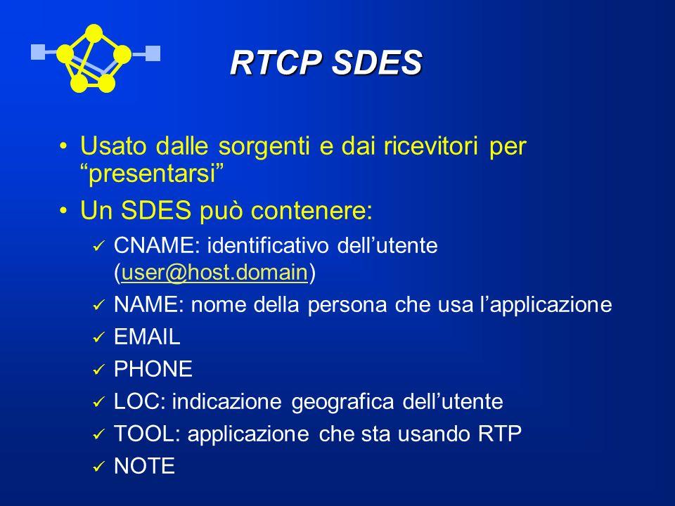 RTCP SDES Usato dalle sorgenti e dai ricevitori per presentarsi Un SDES può contenere: CNAME: identificativo dellutente (user@host.domain)user@host.do