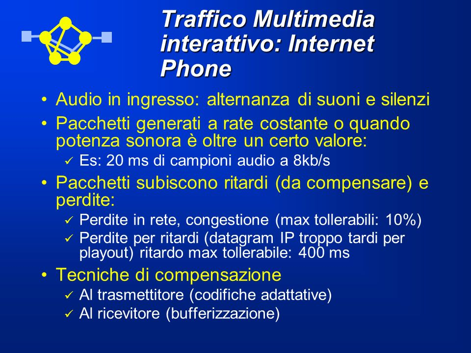 Traffico Multimedia interattivo: Internet Phone Audio in ingresso: alternanza di suoni e silenzi Pacchetti generati a rate costante o quando potenza s