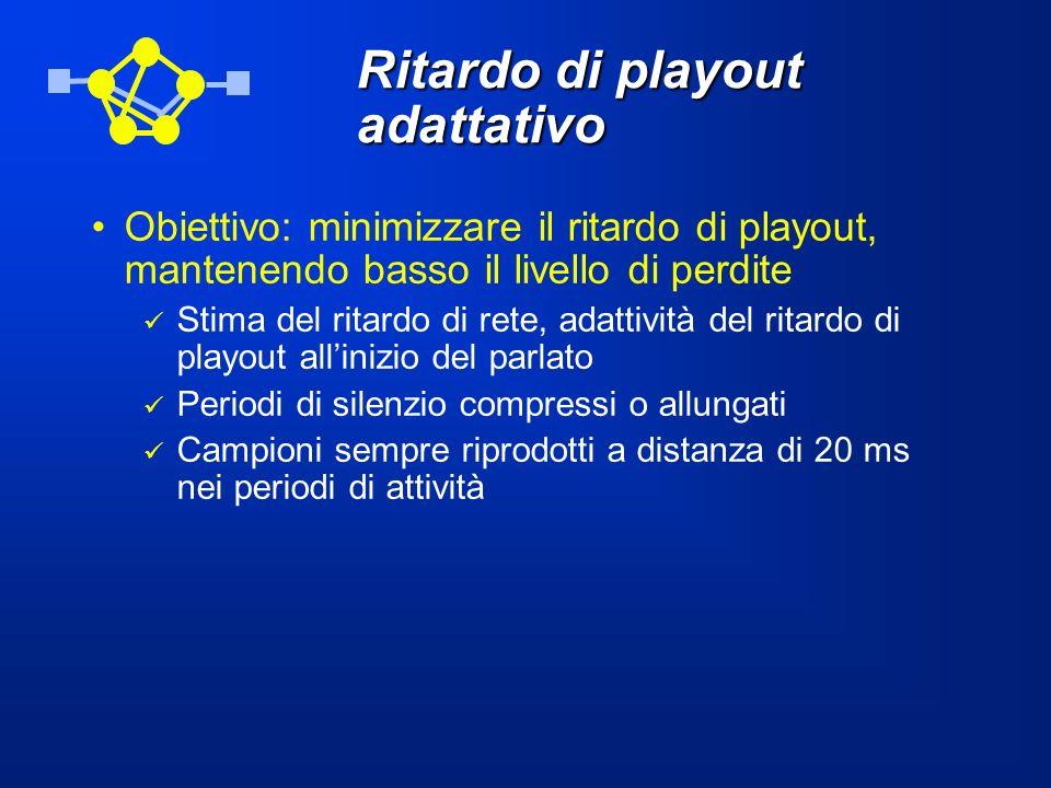 Ritardo di playout adattativo Obiettivo: minimizzare il ritardo di playout, mantenendo basso il livello di perdite Stima del ritardo di rete, adattivi