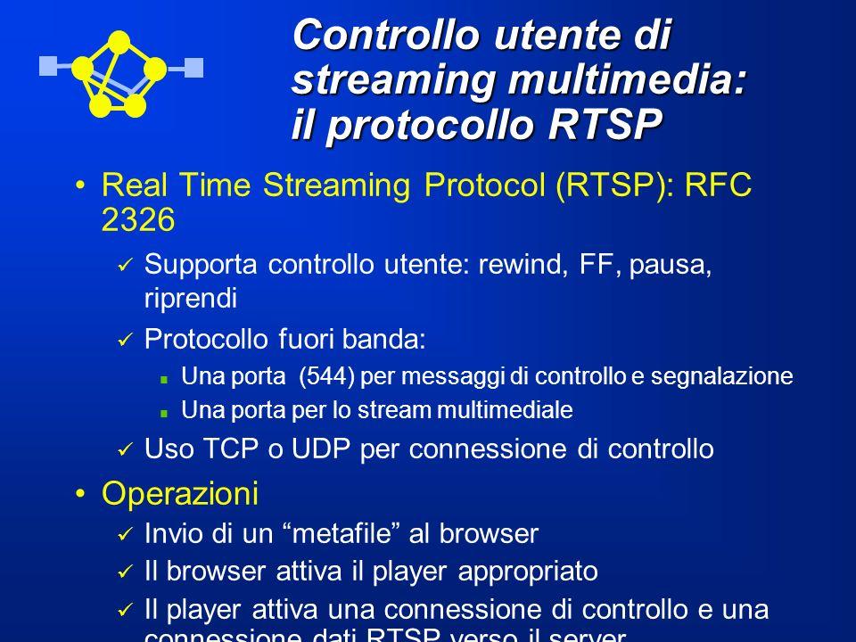 Controllo utente di streaming multimedia: il protocollo RTSP Real Time Streaming Protocol (RTSP): RFC 2326 Supporta controllo utente: rewind, FF, paus