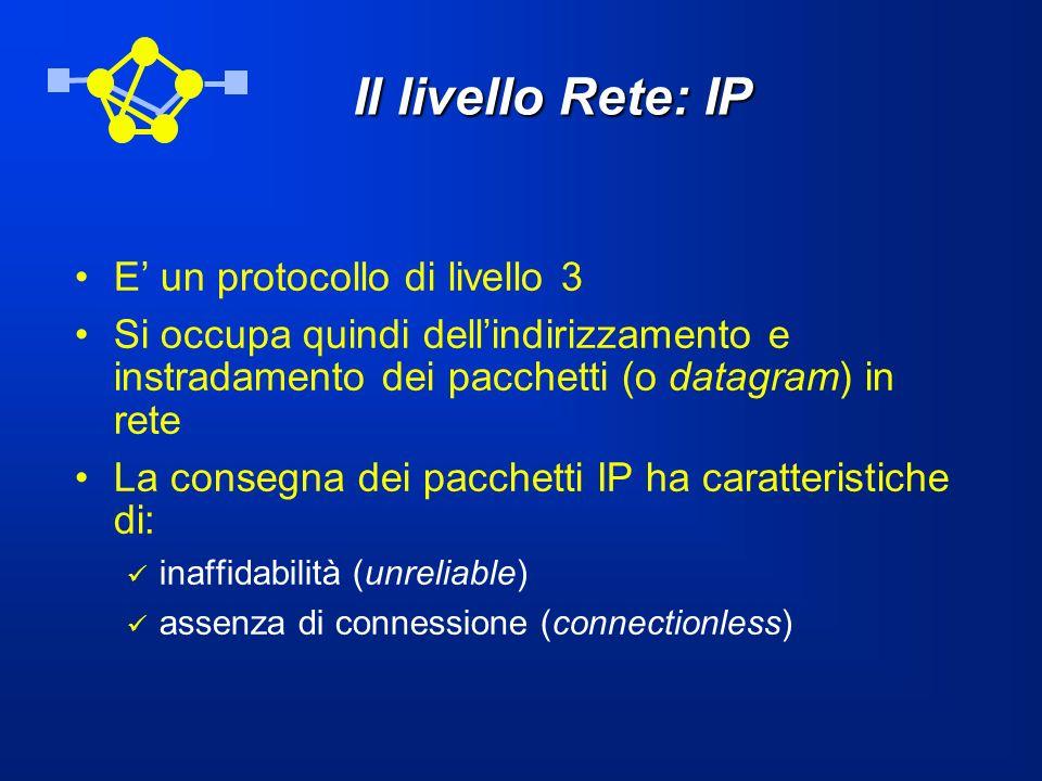 Il livello Rete: IP E un protocollo di livello 3 Si occupa quindi dellindirizzamento e instradamento dei pacchetti (o datagram) in rete La consegna de