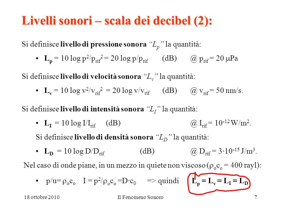 18 ottobre 2010Il Fenomeno Sonoro7 Livelli sonori – scala dei decibel (2): Si definisce livello di pressione sonora L p la quantità: L p = 10 log p 2 /p rif 2 = 20 log p/p rif (dB) @ p rif = 20 Pa Si definisce livello di velocità sonora L v la quantità: L v = 10 log v 2 /v rif 2 = 20 log v/v rif (dB)@ v rif = 50 nm/s.