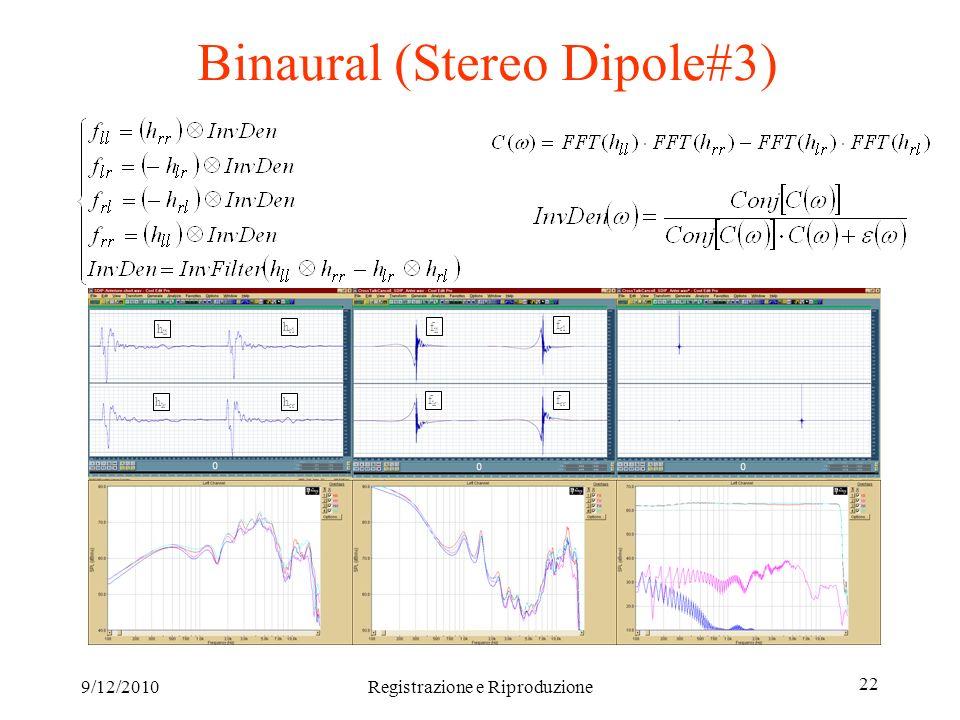 9/12/2010Registrazione e Riproduzione 22 Binaural (Stereo Dipole#3) h ll h lr h rl h rr f ll f lr f rl f rr