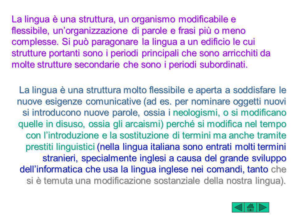 La lingua è una struttura, un organismo modificabile e flessibile, unorganizzazione di parole e frasi più o meno complesse.