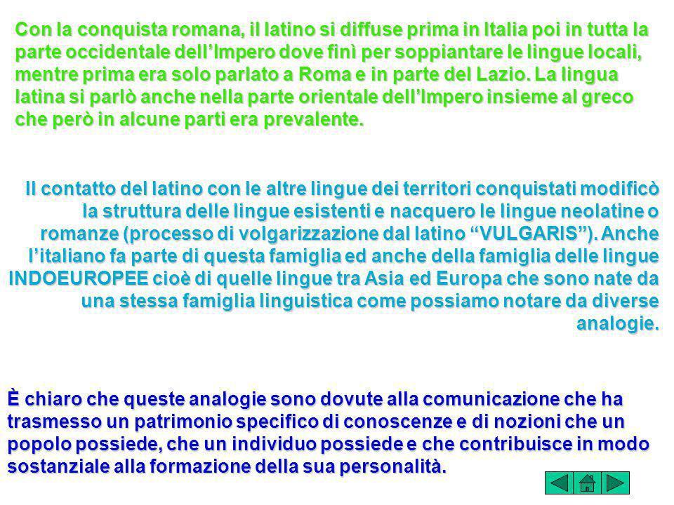 Con la conquista romana, il latino si diffuse prima in Italia poi in tutta la parte occidentale dellImpero dove finì per soppiantare le lingue locali, mentre prima era solo parlato a Roma e in parte del Lazio.