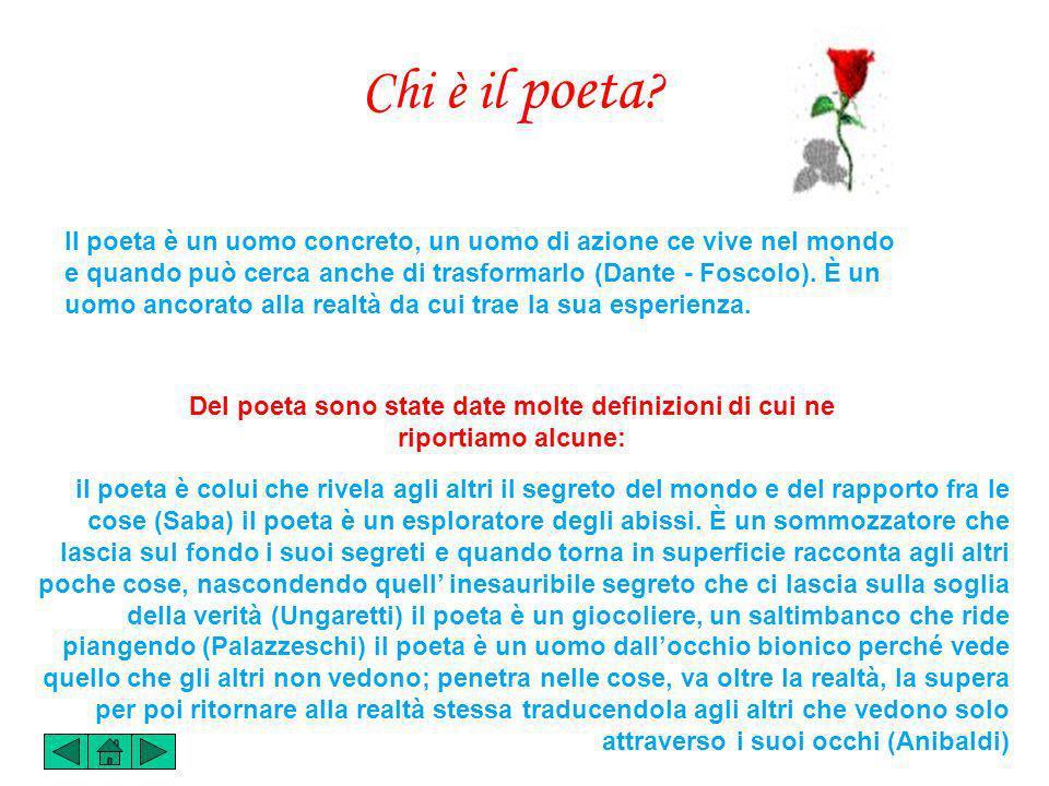 Il poeta è un uomo concreto, un uomo di azione ce vive nel mondo e quando può cerca anche di trasformarlo (Dante - Foscolo).