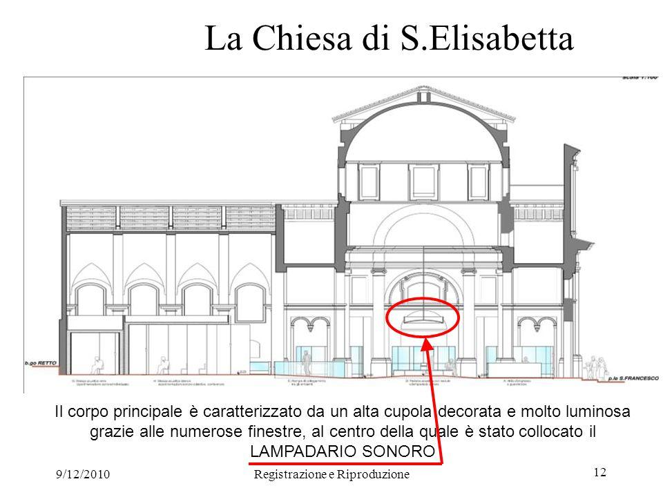 9/12/2010Registrazione e Riproduzione 12 La Chiesa di S.Elisabetta Il corpo principale è caratterizzato da un alta cupola decorata e molto luminosa grazie alle numerose finestre, al centro della quale è stato collocato il LAMPADARIO SONORO