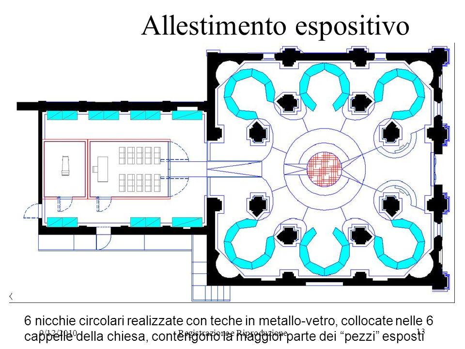 9/12/2010Registrazione e Riproduzione 13 Allestimento espositivo 6 nicchie circolari realizzate con teche in metallo-vetro, collocate nelle 6 cappelle della chiesa, contengono la maggior parte dei pezzi esposti