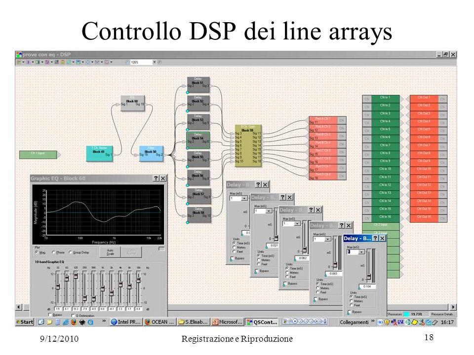 9/12/2010Registrazione e Riproduzione 18 Controllo DSP dei line arrays
