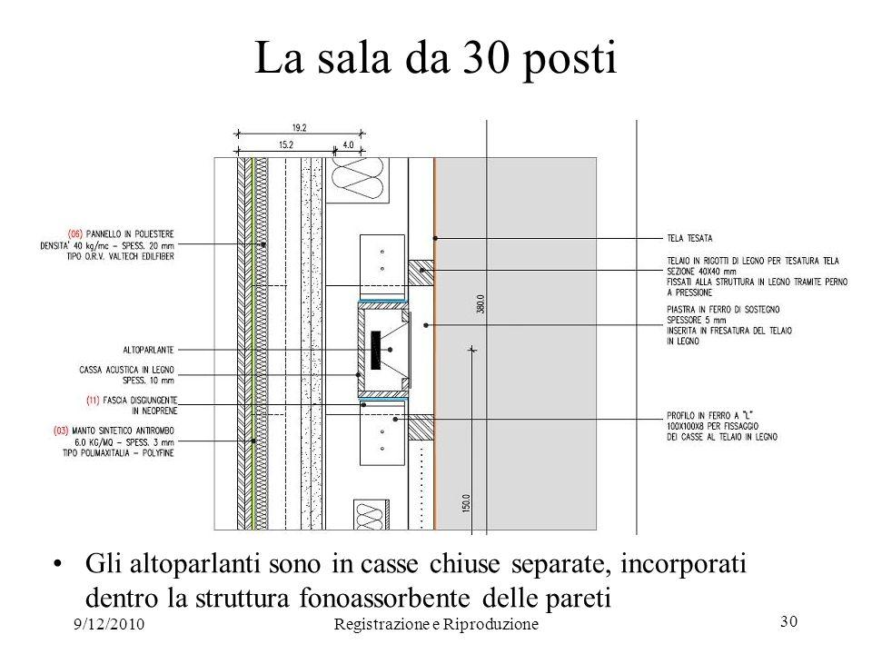 9/12/2010Registrazione e Riproduzione 30 La sala da 30 posti Gli altoparlanti sono in casse chiuse separate, incorporati dentro la struttura fonoassorbente delle pareti