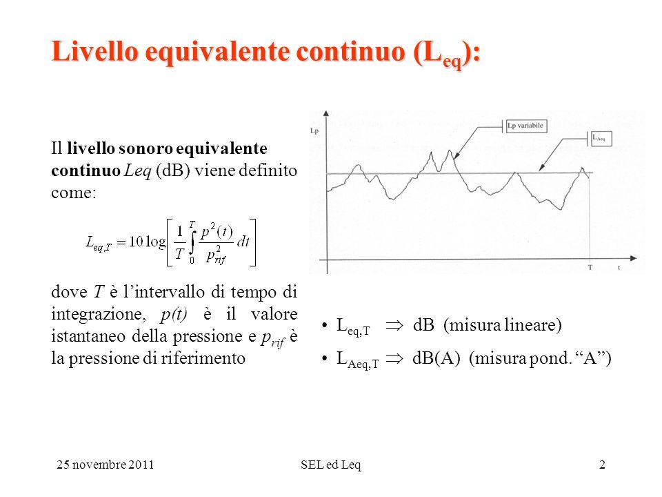 25 novembre 2011SEL ed Leq2 Livello equivalente continuo (L eq ): Il livello sonoro equivalente continuo Leq (dB) viene definito come: dove T è lintervallo di tempo di integrazione, p(t) è il valore istantaneo della pressione e p rif è la pressione di riferimento L eq,T dB (misura lineare) L Aeq,T dB(A) (misura pond.