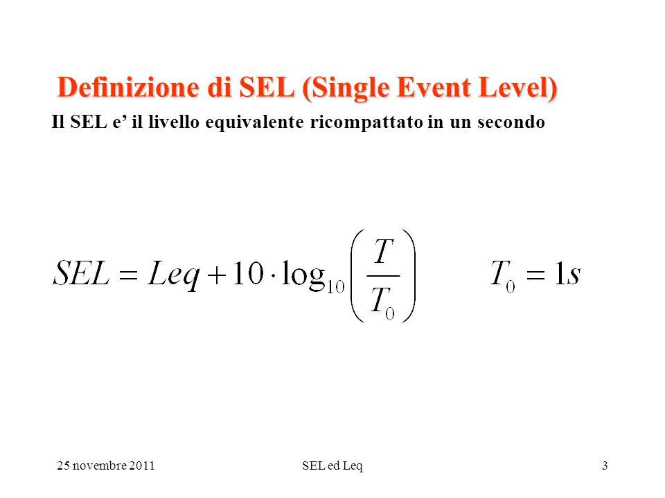 25 novembre 2011SEL ed Leq3 Definizione di SEL (Single Event Level) Il SEL e il livello equivalente ricompattato in un secondo