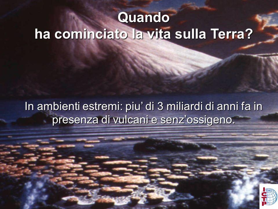 Levidenza dalle fossii delle stromatoliti: In ambienti estremi: piu di 3 miliardi di anni fa in presenza di vulcani e senzossigeno.