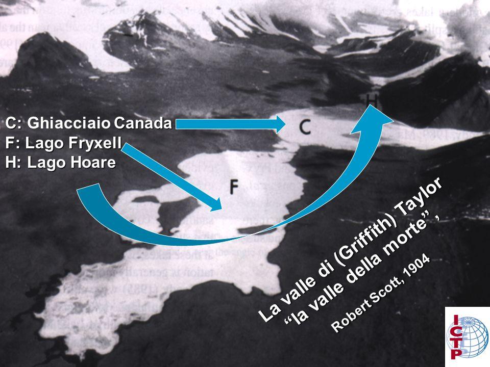 C: Canada C: Ghiacciaio Canada F: Lago Fryxell H: Lago Hoare La valle di (Griffith) Taylor la valle della morte, la valle della morte, Robert Scott, 1904 Robert Scott, 1904