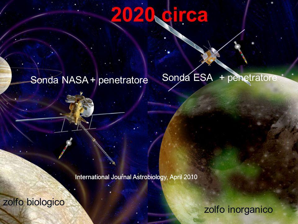 Alla ricerca della vita negli anni 2020 Sonda ESA+ penetratore Sonda NASA+ penetratore 2020 circa zolfo biologico zolfo inorganico International Journal Astrobiology, April 2010