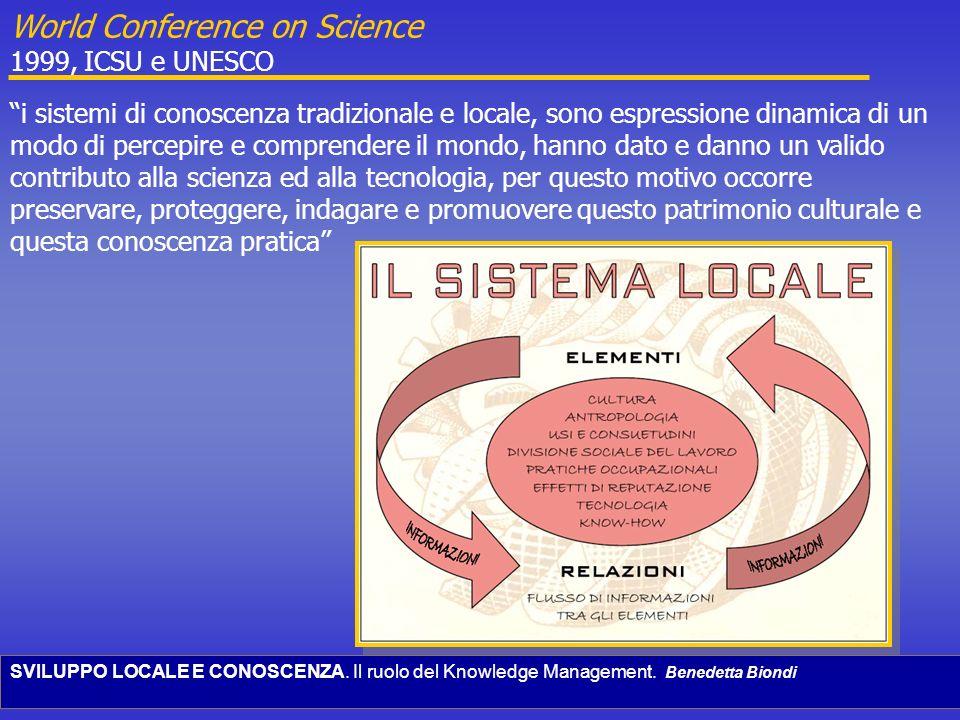 SVILUPPO LOCALE E CONOSCENZA. Il ruolo del Knowledge Management. Benedetta Biondi i sistemi di conoscenza tradizionale e locale, sono espressione dina