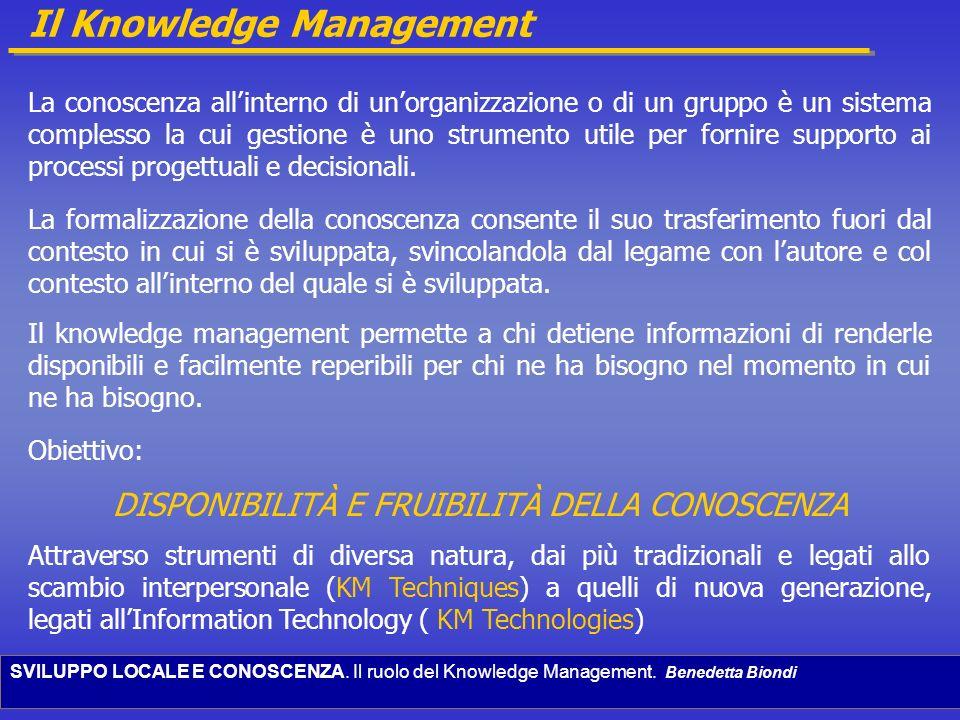 SVILUPPO LOCALE E CONOSCENZA. Il ruolo del Knowledge Management. Benedetta Biondi Il Knowledge Management La conoscenza allinterno di unorganizzazione