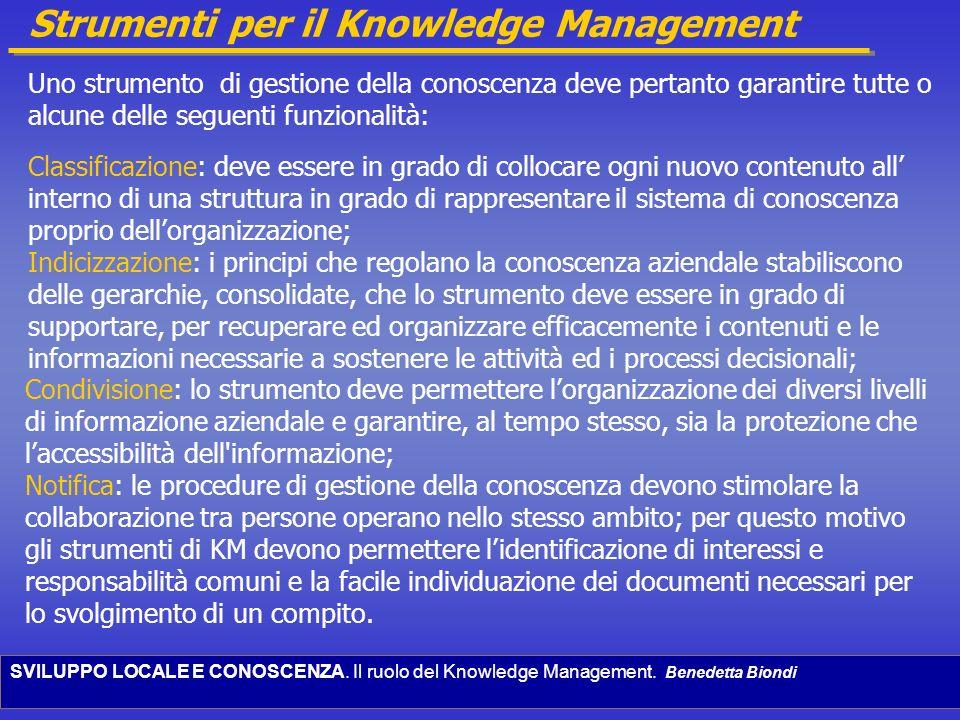 SVILUPPO LOCALE E CONOSCENZA. Il ruolo del Knowledge Management. Benedetta Biondi Strumenti per il Knowledge Management Uno strumento di gestione dell