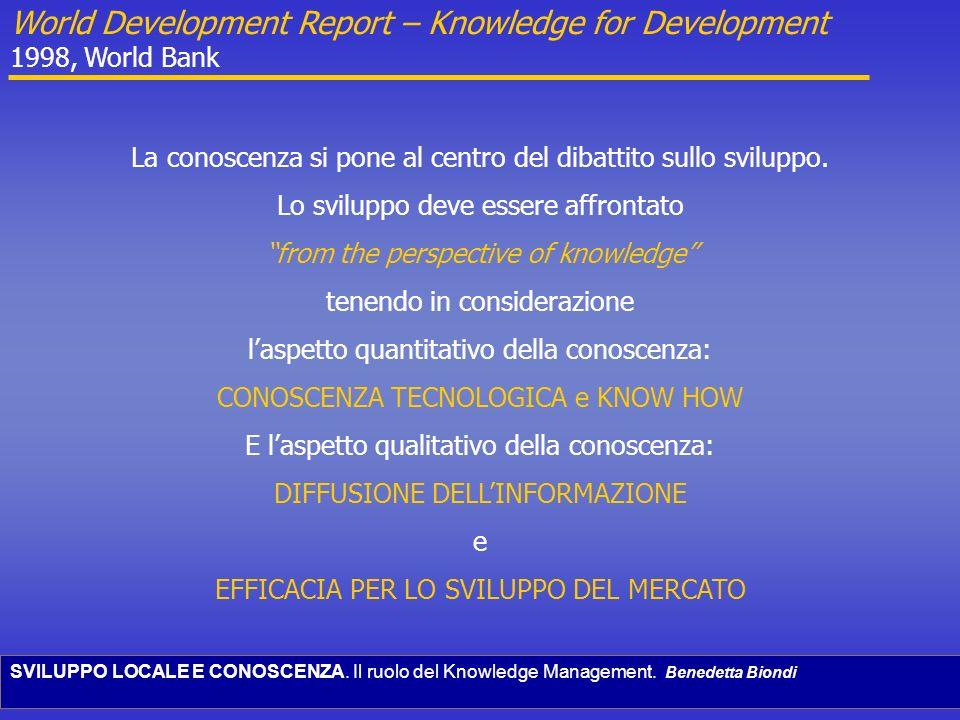 SVILUPPO LOCALE E CONOSCENZA. Il ruolo del Knowledge Management. Benedetta Biondi World Development Report – Knowledge for Development 1998, World Ban