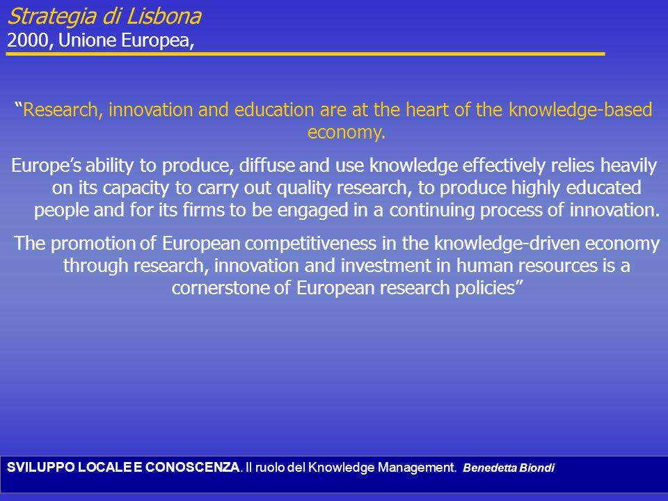 SVILUPPO LOCALE E CONOSCENZA. Il ruolo del Knowledge Management. Benedetta Biondi Research, innovation and education are at the heart of the knowledge