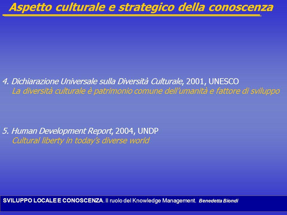 SVILUPPO LOCALE E CONOSCENZA. Il ruolo del Knowledge Management. Benedetta Biondi Aspetto culturale e strategico della conoscenza 4. Dichiarazione Uni