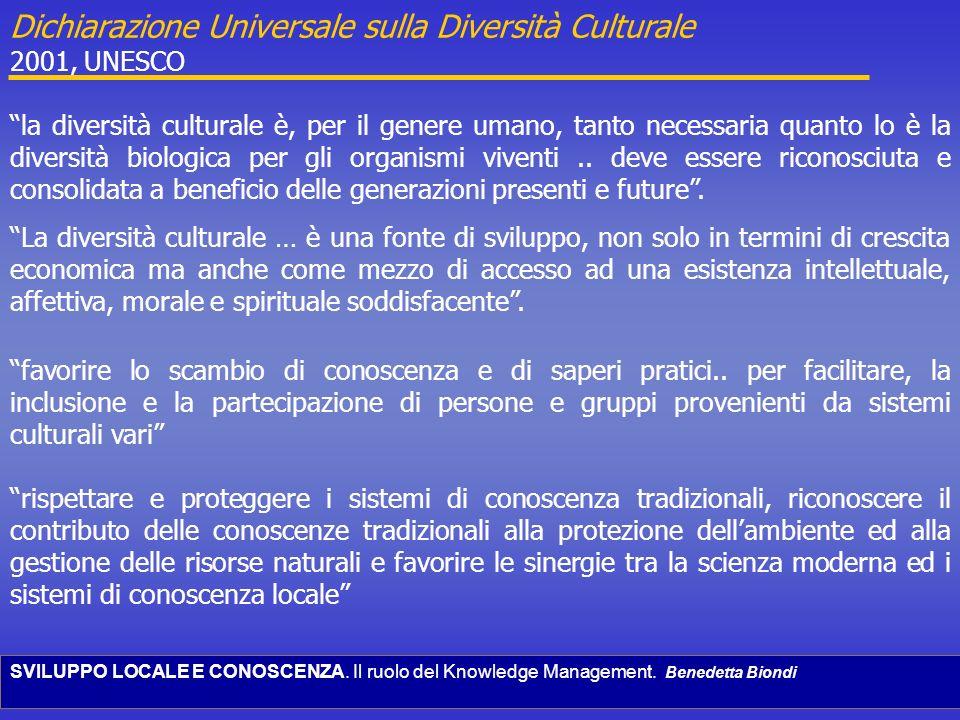 SVILUPPO LOCALE E CONOSCENZA. Il ruolo del Knowledge Management. Benedetta Biondi Dichiarazione Universale sulla Diversità Culturale 2001, UNESCO la d