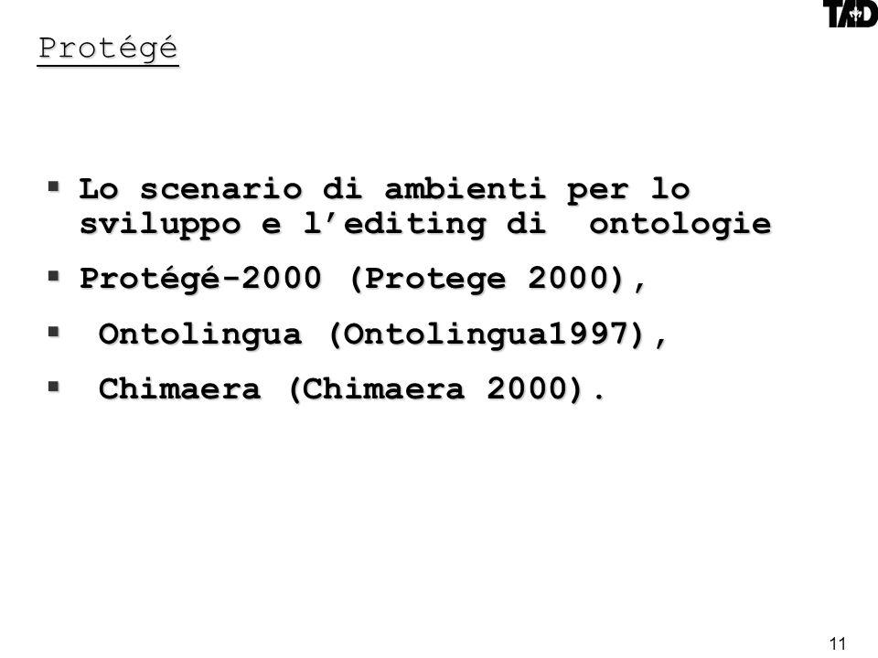 11 Protégé Lo scenario di ambienti per lo sviluppo e lediting di ontologie Lo scenario di ambienti per lo sviluppo e lediting di ontologie Protégé-2000 (Protege 2000), Protégé-2000 (Protege 2000), Ontolingua (Ontolingua1997), Ontolingua (Ontolingua1997), Chimaera (Chimaera 2000).