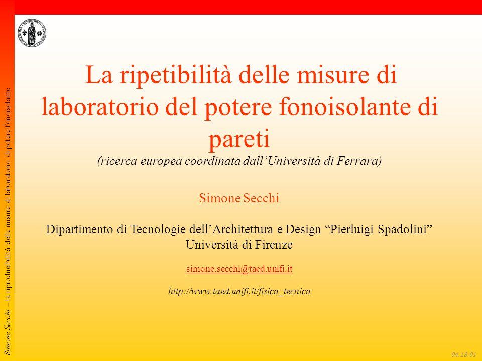 Simone Secchi – la riproducibilità delle misure di laboratorio di potere fonoisolante 04.18.22 Test interlaboratorio relativo alla misura del potere fonoisolante di muri Progetto coordinato dallUniversità di Ferrara