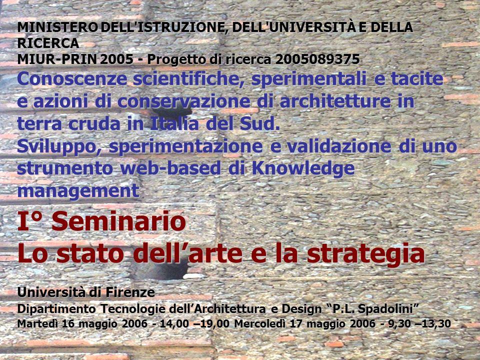 MINISTERO DELL'ISTRUZIONE, DELL'UNIVERSITÀ E DELLA RICERCA MIUR-PRIN 2005 - Progetto di ricerca 2005089375 Conoscenze scientifiche, sperimentali e tac